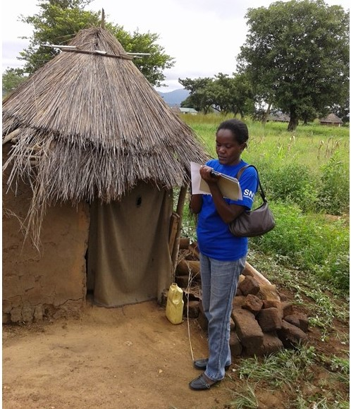 MV team member Martha Keega assesses a latrine in South Sudan