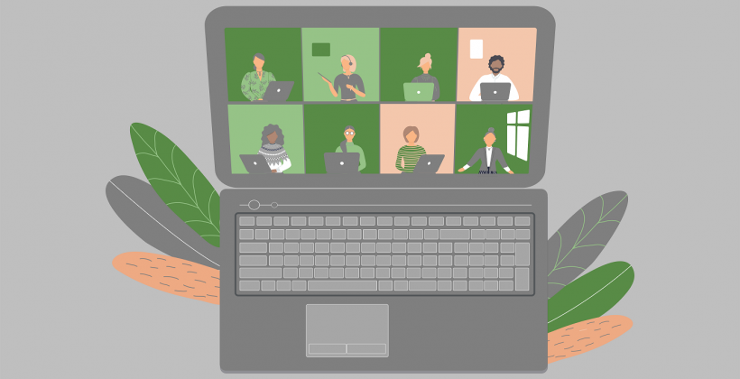 learning event online illustrated by people with laptops on a laptop screen