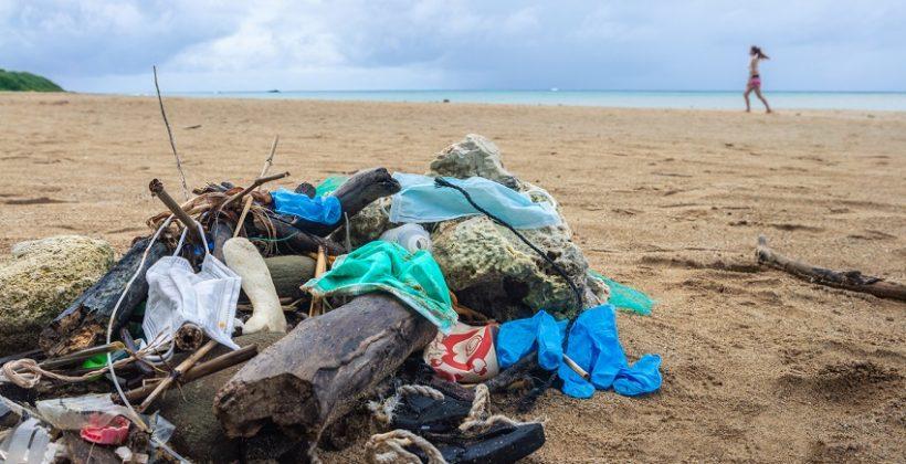 marine litter on beach